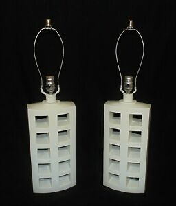 Pair Of White Table Lamps Mid Century Modern Geometric Vintage