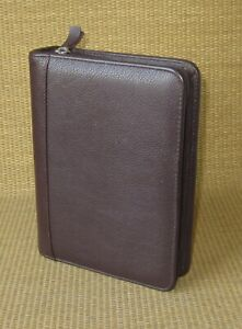 Compact Franklin Covey quest Burgundy Leather 1 Zip Rings Planner binder