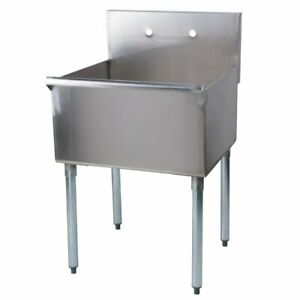 Commercial Utility Sink Prep Hand Wash Laundry Tub Stainless Steel 1 Compartment