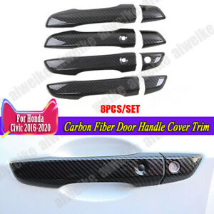 Carbon Fiber Door Handle Cover Trim For Honda Civic 10th 2016 2020 Accessories