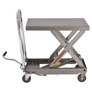 Rolling Lift Table Hydraulic Cart With Foot Hand Truck Dolly 500lb Capacity Gray