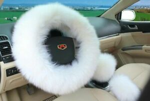 3pcs White Wheel Cover Australia Wool Fuzzy Autocar Steering Cover Universal Us