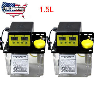 2pcs 1 5l Electric Automatic Lubrication Pump Cnc Digital Auto Oil Pump 110v 6mm