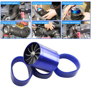 New Blue Dual Fan Turbonator Fuel Saver For Turbo Supercharger Air Intake