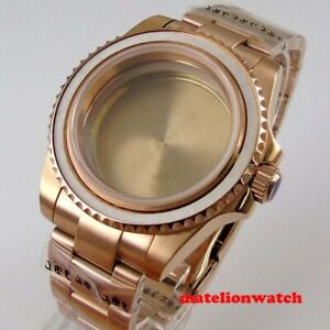 Roes Gold 40mm Watch Case Parts Fit Nh35 Nh36 Movement Sapphire Glass Bracelet