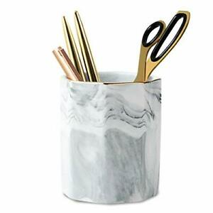 Waveyu Pen Holder Stand For Desk Marble Pattern Pencil Cup For Girls gray