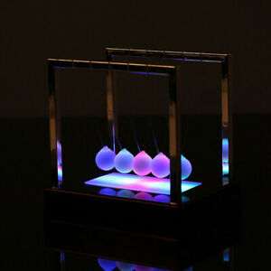 Newtons Cradle Fun Glass Balance Balls Physics Science Desk Toy Led Light Us Y8