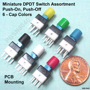 12 Miniature Dpdt Push button Switch Latching push on push off Assortment