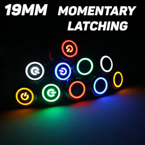 19mm Power Ring Momentary Push Button Switch Latching Waterproof Led Light Car