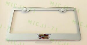 3d Cadillac Emblem Stainless Steel License Plate Frame Rust Free