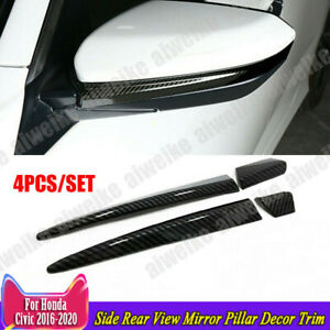 For Honda Civic 2016 2021 Carbon Fiber Side Rear View Mirror Pillar Decor Trim