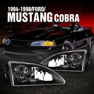 For 1994 1998 Ford Mustang Cobra Headlights Replace Lamp Set Black Clear W bulbs