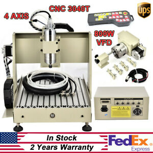4 Axis Cnc 3040 Router 800w For Pcb Diy Drilling Engraving 3d Carving Machine rc