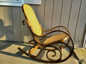 Vintage Rattan Bentwood Rocker Rocking Chair Thonet Style Dark Brown Wicker Back