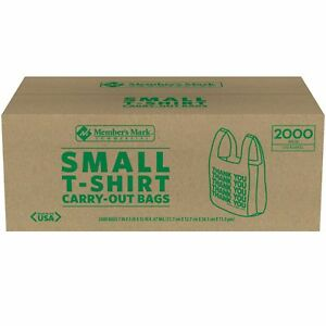 Member s Mark Small T shirt Carry out Bags 2 000 Ct Easy To Carry