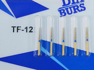 Dental Diamond Burs Tf 12 High Speed Drill Golden For Handpiece Polishing