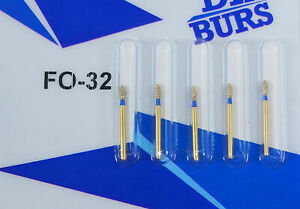 Dental Diamond Burs Fo 32 High Speed Drill Golden For Handpiece Polishing