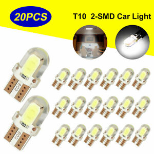 20pcs T10 194 192 168 Cob Led Interior License Plate Dome Map Light Bulbs White