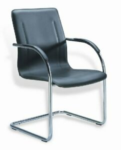 Boss Black Vinyl Guest Chair With Chrome Frame Set Of 4