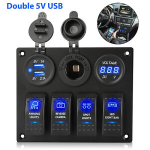 4 Gang Blue Led Rocker Switch Panel Circuit Breaker Waterproof Car Marine Boat