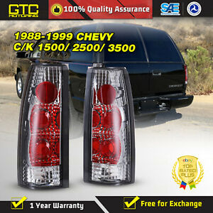 For 88 98 Chevy Gmc C K 2500 3500 95 00 Tahoe Tail Lights Chrome Clear Pair