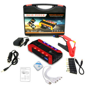 1000a 12v Car Vehicle Jump Starter Booster Battery Charger Usb Power Bank W Led