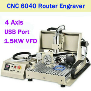 Usb 1 5kw 4 Axis 6040 Cnc Router Engraver Carving Machine Metal Cutter Eu Stock