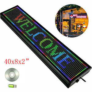 Led Sign 40 x8 Rgb 7color Programmable Scrolling Message Display Board W usb