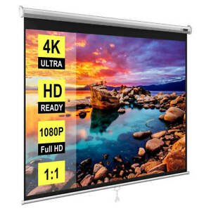 100 Inch Manual Pull Down Projector Screen 16 9 Hd Retractable Widescreen