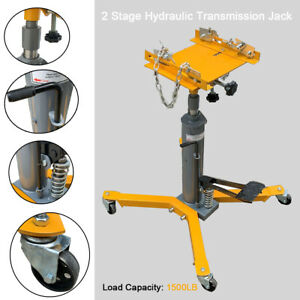 2 Stage Hydraulic Transmission Jack W 360swivel Wheels Lift Hoist Auto 1500lbs