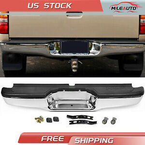 Complete Rear Step Bumper Chrome Black For 95 04 Toyota Tacoma Pickup Truck