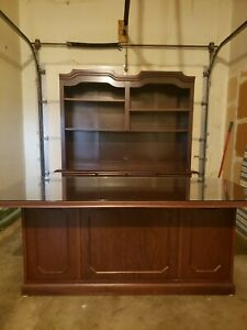 Executive Desk W glasstop Credenza Matching Printer Table