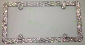 4 Rows Clear Diamond Bling License Metal Frame Made With Swarovski Crystals