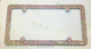 4 Rows Ab Aurora Borealis Bling License Metal Frame Made With Swarovski Crystals