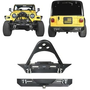 Texture Front Rear Bumper W winch Plate D rings Fit Jeep Wrangler 1997 2006 Tj
