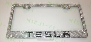 Tesla Bling License Plate Metal Frame Holder Made W Swarovski Crystals