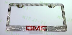 Gmc Bling License Plate Metal Frame Holder Made W Swarovski Crystals