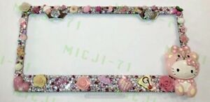 Hello Kitty Bling Pearl License Plate Metal Frame Holder W Swarovski Crystals