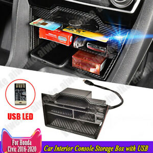 For Honda Civic 2016 2021 Carbon Fiber Car Interior Console Storage Box With Usb