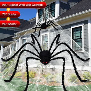 Giant Spider Web Plush Scary Large Spider Halloween Party Decor Outdoor Yard USA