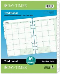 Day timer 2020 Monthly Planner Refill 8 1 2 X 11 Folio Size 5 Two Pages Per
