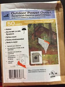 Mep 50 Amp Outdoor Power Outlet Receptacle Heavy Duty Housing Sealed Free Ship