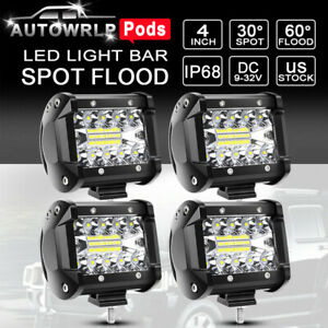 4x 4 Cree Led Work Light Bar Flood Spot Pods Offroad Fog Lamp Pickup Atv Truck