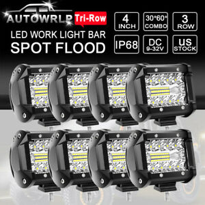 10x 4 27w Round Led Work Light Bar Flood Offroad Truck Suv Atv Utv Driving Lamp