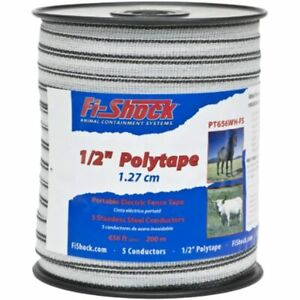 Fi shock Pt656wh fs 656 feet Polytape 1 2 inch Electrical Fence Tape Garden