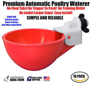 10 Chicken Watering Cups Red Fully Automatic No Peck No Leak Free Shipping