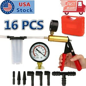 Hand Held Vacuum Pressure Pump Tester Set Brake Fluid Bleeder Bleeding Kit Box