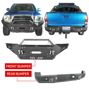 Black Front Rear Bumper W Winch Plate Fit Toyota Tacoma 2005 2015 2nd Gen
