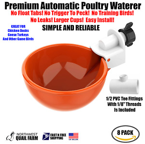 8 Chicken Watering Cups W tee Fully Automatic No Peck No Leak Free Shipping