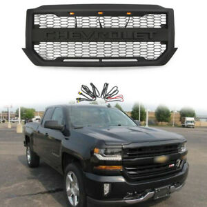 For 2016 2018 Chevrolet Silverado 1500 Front Grille With 3 Led Lights Letters